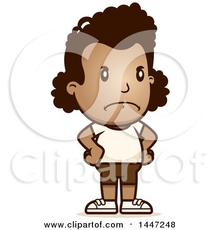 Clipart of a Retro Angry African American Girl in Shorts, with Hands on Her Hips - Royalty Free Vector Illustration by Cory Thoman
