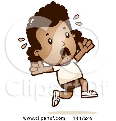 Clipart of a Retro African American Girl in Shorts, Running Scared - Royalty Free Vector Illustration by Cory Thoman