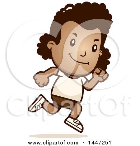 Clipart of a Retro African American Girl Running in Shorts - Royalty Free Vector Illustration by Cory Thoman