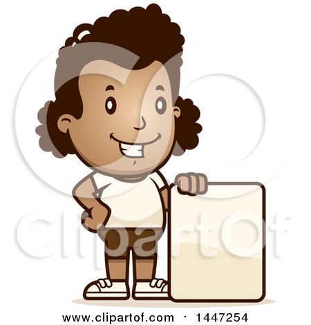 Clipart of a Retro African American Girl in Shorts, with a Blank Sign - Royalty Free Vector Illustration by Cory Thoman