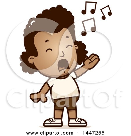Clipart of a Retro Singing African American Girl in Shorts - Royalty Free Vector Illustration by Cory Thoman