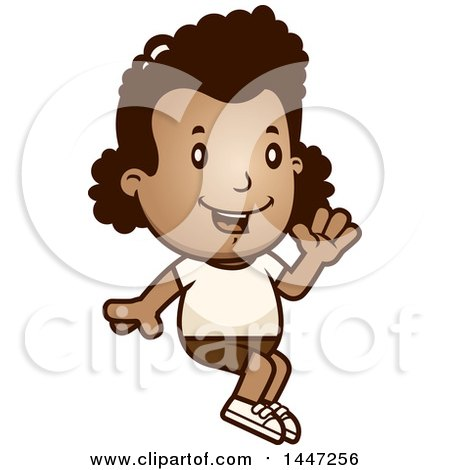 Clipart of a Retro African American Girl Sitting and Waving in Shorts - Royalty Free Vector Illustration by Cory Thoman