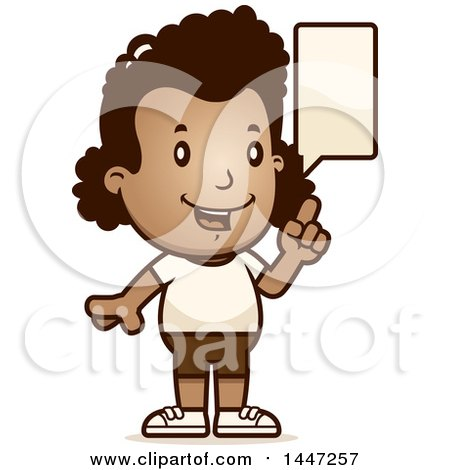 Clipart of a Retro Talking African American Girl in Shorts - Royalty Free Vector Illustration by Cory Thoman