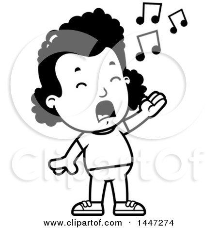 Clipart of a Retro Black and White African American Girl Singing ...
