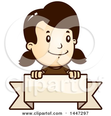 Clipart of a Retro Caucasian Girl Smiling over a Blank Ribbon Banner - Royalty Free Vector Illustration by Cory Thoman