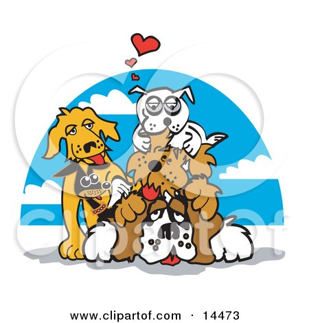 Dogs Piling on Top of a St Bernard Clipart Illustration by Andy Nortnik