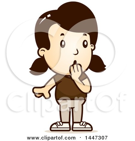 Clipart of a Retro Surprised Gasping Caucasian Girl - Royalty Free Vector Illustration by Cory Thoman