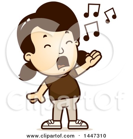 Clipart of a Retro Caucasian Girl Singing - Royalty Free Vector Illustration by Cory Thoman