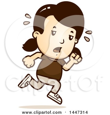 Clipart of a Retro Tired Caucasian Girl Running - Royalty Free Vector Illustration by Cory Thoman