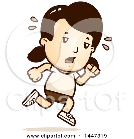 Clipart of a Retro Tired Caucasian Girl Running in Shorts - Royalty Free Vector Illustration by Cory Thoman