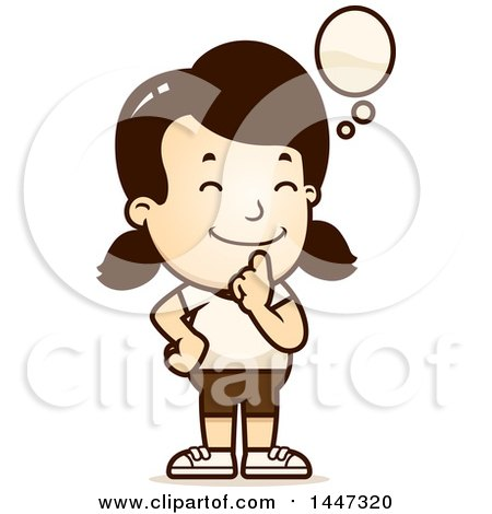 Clipart of a Retro Thinking Caucasian Girl in Shorts - Royalty Free Vector Illustration by Cory Thoman