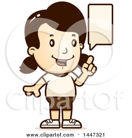Clipart of a Retro Talking Caucasian Girl in Shorts - Royalty Free Vector Illustration by Cory Thoman