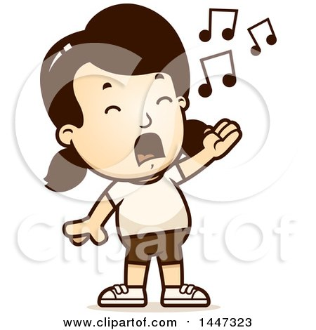 Clipart of a Retro Singing Caucasian Girl in Shorts - Royalty Free Vector Illustration by Cory Thoman