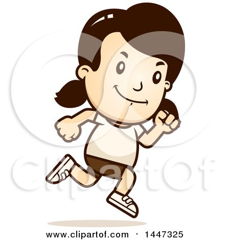 Clipart of a Retro Caucasian Girl Running in Shorts - Royalty Free Vector Illustration by Cory Thoman