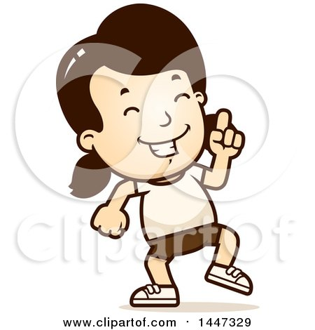 Clipart of a Retro Caucasian Girl in Shorts, Doing a Happy Dance - Royalty Free Vector Illustration by Cory Thoman