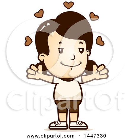 Clipart of a Retro Caucasian Girl in Shorts, with Open Arms and Love Hearts - Royalty Free Vector Illustration by Cory Thoman