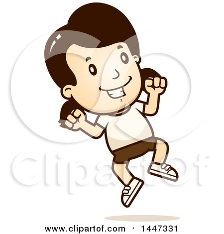 Clipart of a Retro Caucasian Girl Jumping in Shorts - Royalty Free Vector Illustration by Cory Thoman