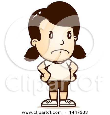 Clipart of a Retro Angry Caucasian Girl in Shorts, with Hands on Her Hips - Royalty Free Vector Illustration by Cory Thoman