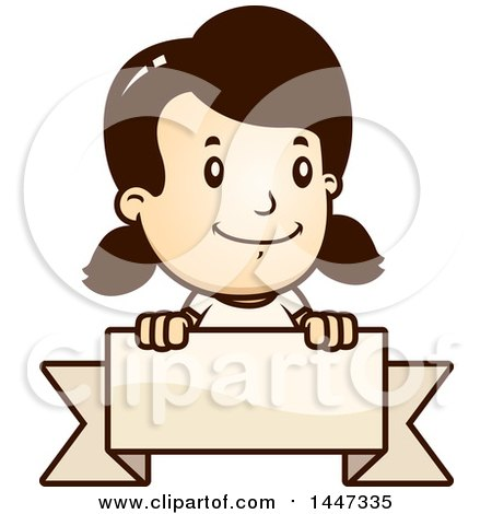Clipart of a Retro Caucasian Caucasian Girl over a Blank Ribbon Banner - Royalty Free Vector Illustration by Cory Thoman