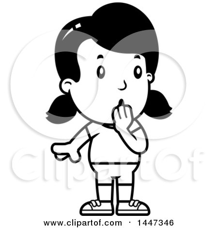 Clipart of a Black and White Retro Surprised Gasping Girl in Shorts - Royalty Free Vector Illustration by Cory Thoman