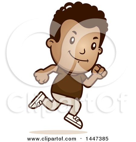 Clipart of a Retro African American Boy Running - Royalty Free Vector Illustration by Cory Thoman
