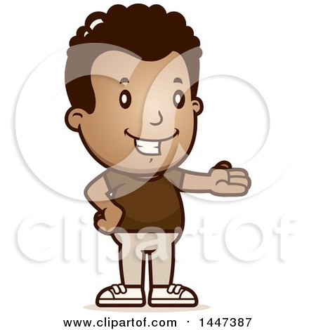 Clipart of a Retro African American Boy Presenting - Royalty Free Vector Illustration by Cory Thoman