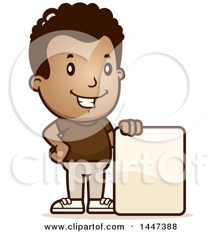 Clipart of a Retro African American Boy with a Blank Sign - Royalty Free Vector Illustration by Cory Thoman