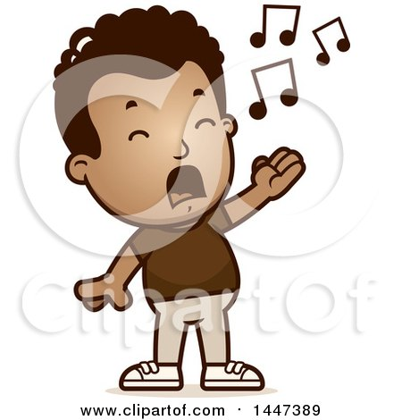 Clipart of a Retro African American Boy Singing - Royalty Free Vector Illustration by Cory Thoman