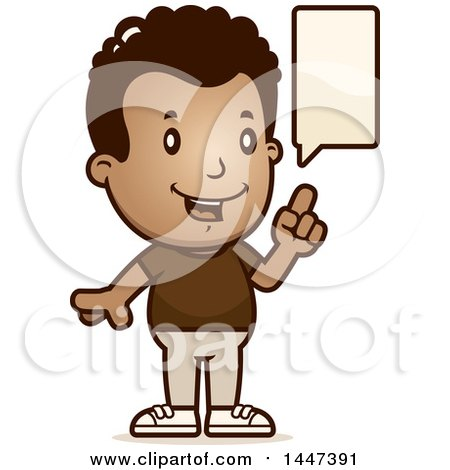 Clipart of a Retro African American Boy Talking - Royalty Free Vector Illustration by Cory Thoman