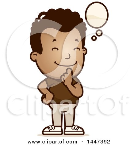 Clipart of a Retro African American Boy Thinking - Royalty Free Vector Illustration by Cory Thoman