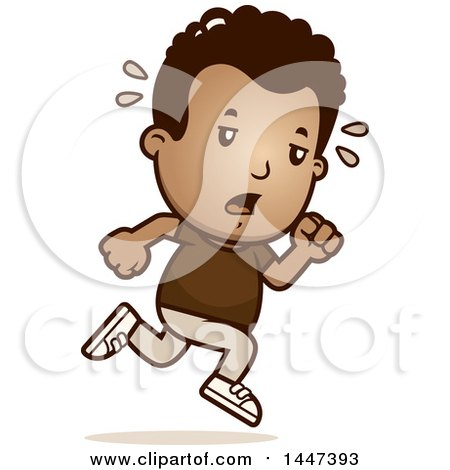 Clipart of a Retro Tired African American Boy Running - Royalty Free Vector Illustration by Cory Thoman