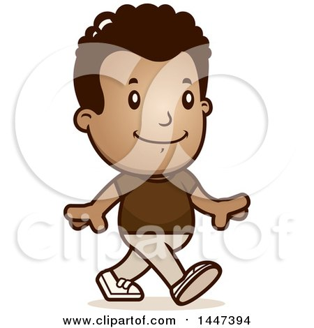 Clipart of a Retro African American Boy Walking - Royalty Free Vector Illustration by Cory Thoman