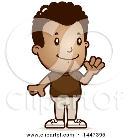 Clipart of a Retro African American Boy Waving - Royalty Free Vector Illustration by Cory Thoman