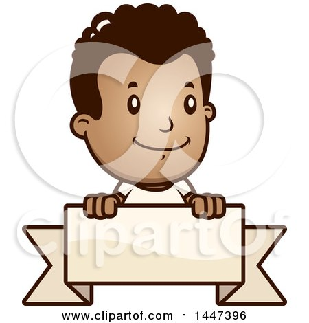 Clipart of a Retro African American Boy over a Blank Ribbon Banner - Royalty Free Vector Illustration by Cory Thoman