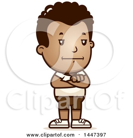 Clipart of a Retro African American Boy in Shorts - Royalty Free Vector Illustration by Cory Thoman