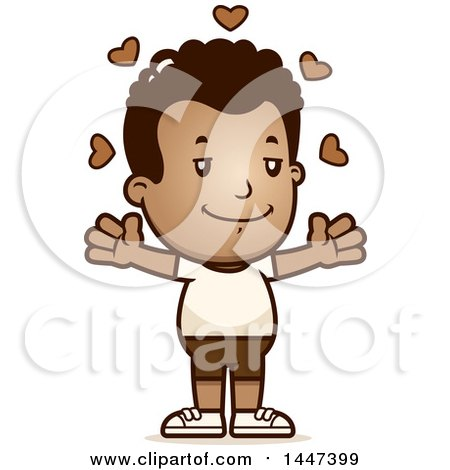 Clipart of a Retro African American Boy in Shorts, with Open Arms and Love Hearts - Royalty Free Vector Illustration by Cory Thoman