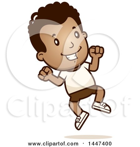 Clipart of a Retro African American Boy Jumping in Shorts - Royalty Free Vector Illustration by Cory Thoman