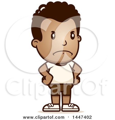 Clipart of a Retro Angry African American Boy in Shorts, with Hands on His Hips - Royalty Free Vector Illustration by Cory Thoman