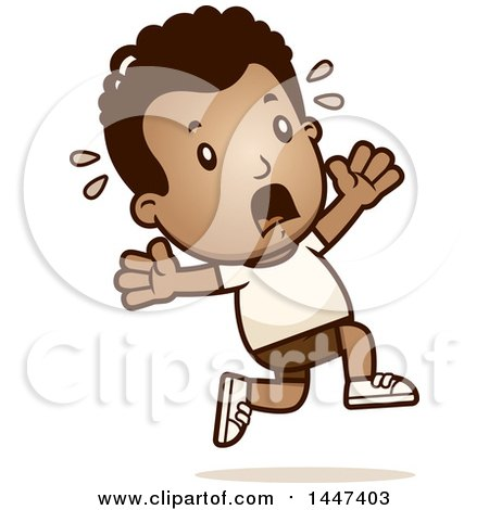 Clipart of a Retro African American Boy in Shorts Running Scared - Royalty Free Vector Illustration by Cory Thoman