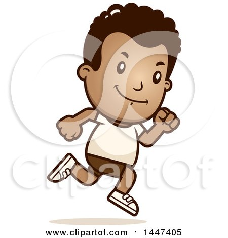 Clipart of a Retro African American Boy Running in Shorts - Royalty Free Vector Illustration by Cory Thoman
