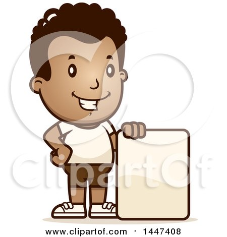 Clipart of a Retro African American Boy in Shorts, with a Blank Sign - Royalty Free Vector Illustration by Cory Thoman