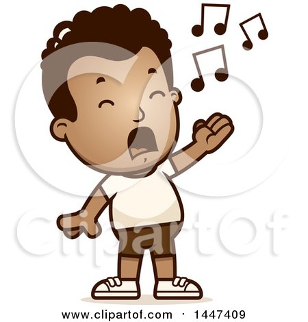 Clipart of a Retro Singing African American Boy in Shorts - Royalty Free Vector Illustration by Cory Thoman