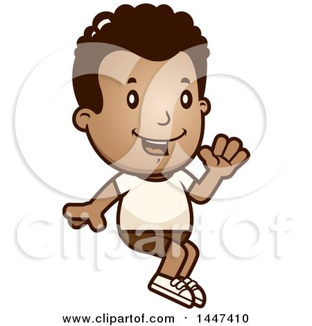 Clipart of a Retro African American Boy Sitting and Waving in Shorts - Royalty Free Vector Illustration by Cory Thoman
