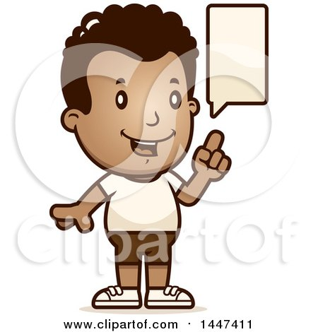 Clipart of a Retro Talking African American Boy in Shorts - Royalty Free Vector Illustration by Cory Thoman