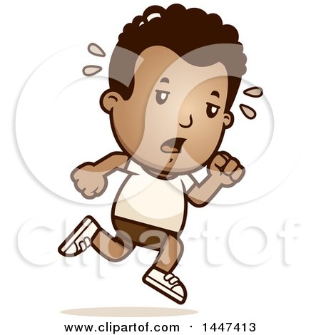 Clipart of a Retro Tired African American Boy Running in Shorts - Royalty Free Vector Illustration by Cory Thoman