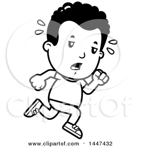 Clipart Of A Retro Black And White Tired African American Boy
