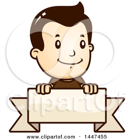 Clipart of a Retro White Boy over a Blank Ribbon Banner - Royalty Free Vector Illustration by Cory Thoman