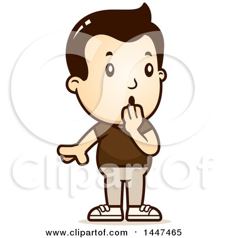 Clipart of a Retro Surprised Gasping White Boy - Royalty Free Vector Illustration by Cory Thoman