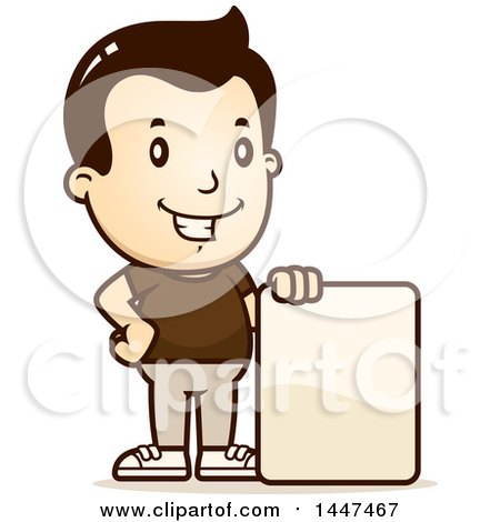 Clipart of a Retro White Boy with a Blank Sign - Royalty Free Vector Illustration by Cory Thoman