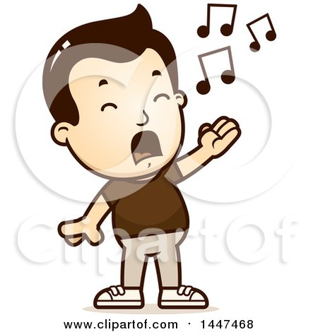 Clipart of a Retro White Boy Singing - Royalty Free Vector Illustration by Cory Thoman